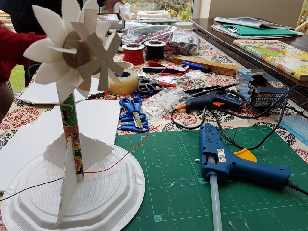 Windmill generator made with paper plates and a hot glue gun