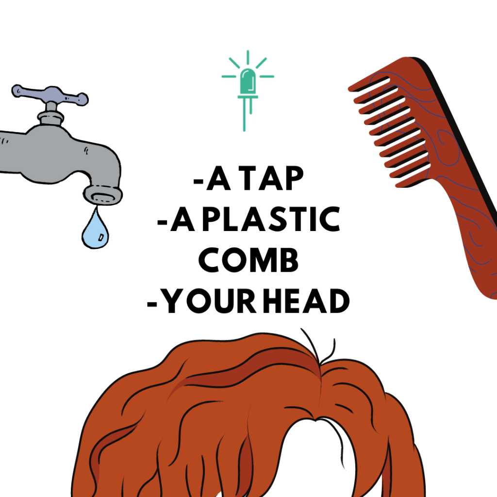 How to make water bend, you need a plastic comb, a water tap and a head of clean, dry hair