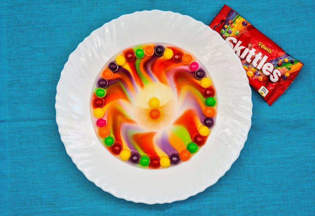 Skittles rainbow on a plate
